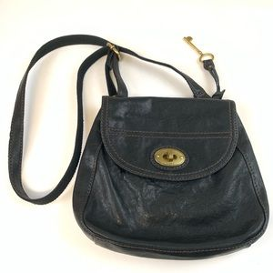 Fossil Bag Crossbody Solid Black Leather Gold Tone